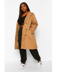 Boohoo Plus O Ring Belted Trench Coat - Natural