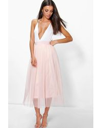 61d694e3fd Boohoo Boutique Lace Top And Midi Skirt Set in Black - Lyst