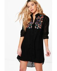 Boohoo | Boutique Dory Embroidered Shirt Dress | Lyst
