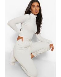 Boohoo Turtle Neck Knitted Ribbed Top - White