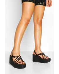 Boohoo Woven Strappy Espadrille Wedges - Black