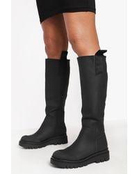 Boohoo Rubber Knee High Boot - Black
