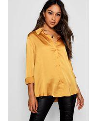 Boohoo Woven Satin Oversized Long Sleeve Shirt - Yellow