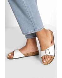 Boohoo Single Strap Footbed Slides - White