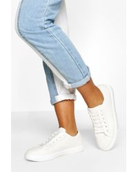 Boohoo Wide Width Basic Lace Up Canvas Trainers - White