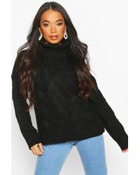 Boohoo Womens Petite Chunky Cable Knit Roll Neck Sweater - Black