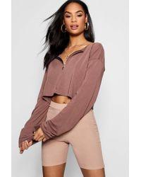 Boohoo - Basic Zip Front Light Weight Crop Sweater - Lyst