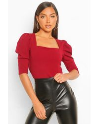Boohoo Crepe Square Neck Puff Sleeve Crop Top - Red