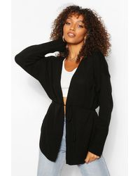 Boohoo Tall Oversized Wrap Around Cardigan - Nero