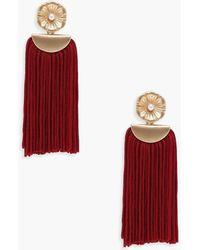 Boohoo - Lily Floral Detail Tassel Earrings - Lyst