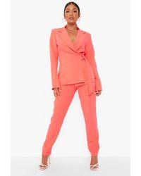 Boohoo Petite Neon Slim Fit Dress Trousers - Pink