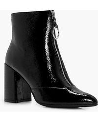 Boohoo - Nina Oversized O-ring Cylinder Heel Boot - Lyst