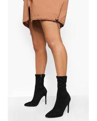 Boohoo Pointed Toe Stiletto Heel Sock Boots - Black