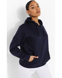 Boohoo Womens Basic Hoodie Zum Überziehen - Blau