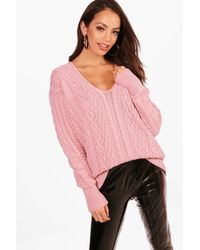 Boohoo - Cable Knit Plunge Neck Oversized Jumper - Lyst
