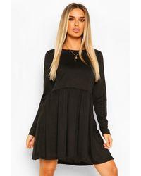 Boohoo Round Neck Long Sleeve Skater Dress - Nero