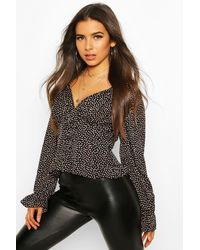 Boohoo Ditsy Floral Corset Detail Woven Blouse - Nero