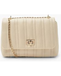 Boohoo Quilted Lock Detail Mini Cross Body Bag - White