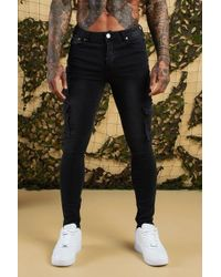0a75992978629 Boohoo Skinny Fit Cargo Biker Jeans With Zips in Purple for Men - Lyst