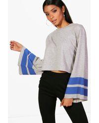 Boohoo - Sports Stripe Wide Sleeve Sweat - Lyst