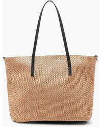 Boohoo Straw Pu Handle Beach Bag - Natural