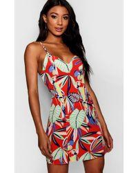 9d55038640 Boohoo - Emma Leaf Print Thigh Split Slip Dress - Lyst