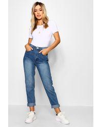 Boohoo Petite Mid Wash Classic Mom Jeans - Blue