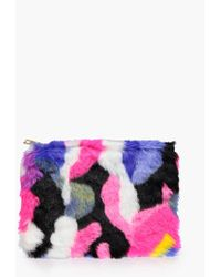 8cd6d5cc8ad3 Boohoo - Frankie Multicoloured Fur Zip Top Clutch - Lyst