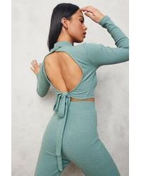 Boohoo High Neck Tie Back Crop Top - Verde