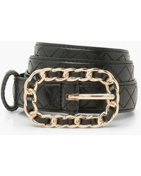 Boohoo Quilted Belt With Chain Detail Buckle - Negro