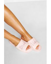Boohoo Womens Bridal Embroidery Slippers - Pink