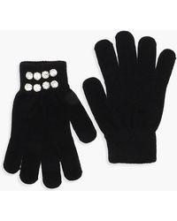 Boohoo Diamante Cuff Gloves - Black
