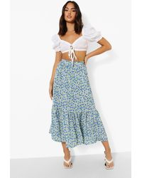 Boohoo Ditsy Floral Maxi Skirt - Nero