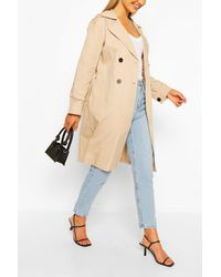 Boohoo Double Breasted D-ring Detail Trench - Natural