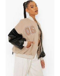 Boohoo Faux Leather Sleeve Varsity Jacket - Natural