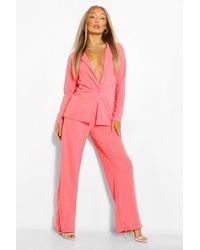 Boohoo Tailored Blazer And Wide Leg Trousers Suit Set - Orange