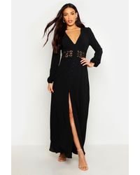 Boohoo - Lace Waist Button Maxi Dress - Lyst