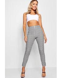 Boohoo High Waist Gingham Flannel Split Skinny Trousers - Black