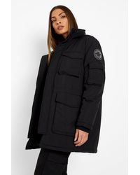 Boohoo Pocket Detail Parka Coat - Black