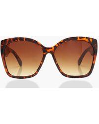 Boohoo Oversized Tortoiseshell Sunglasses - Brown