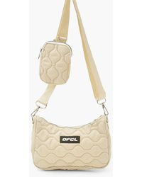 Boohoo Ofcl Quilted Multi Pouch Cross Body Bag - White