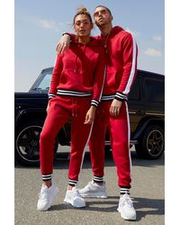 Boohoo Her Side Panel Contrast Rib Hooded Tracksuit - Red