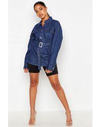 Boohoo Womens Belted Denim Shirt - Blue - 2