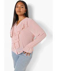 Boohoo Plus Ruffle Chiffon Blouse - Pink