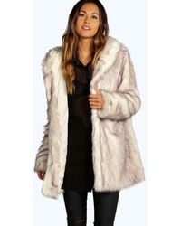 Boohoo Boutique Hooded Faux Fur Coat - White