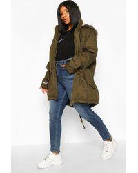 Boohoo Plus Parka Coat With Faux Fur Trim Hood - Green