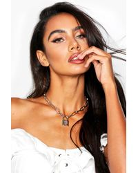 Boohoo Padlock Chain Statement Necklace - Metallic