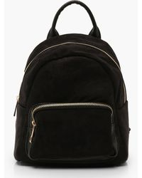 Boohoo Womens Mini Suedette Front Pocket Rucksack - Black - One Size