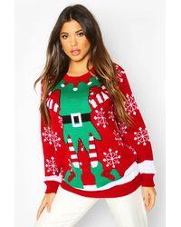 Boohoo Mrs Elf Christmas Sweater Dress - Red