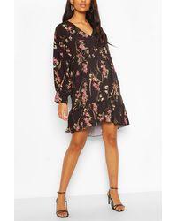 Boohoo Maternity Floral Smock Dress - Black